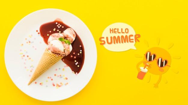 夏の概念のためのフラットレイアウトcopyspaceモックアップ