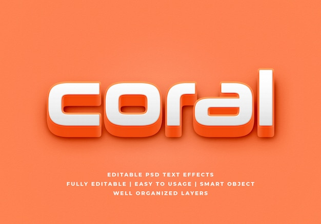 Coral 3d text style effect