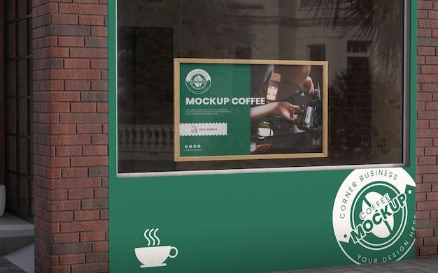 커피 숍 코너 비즈니스 목업