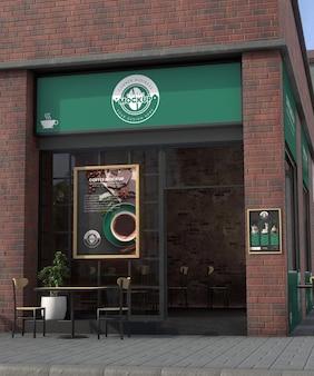 Угловой бизнес-макет для кофейни