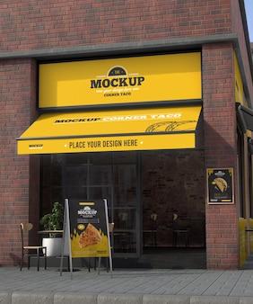 Corner business mock-up for tacos