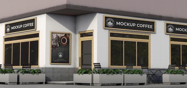 Corner mock-up composition for shop outdoors
