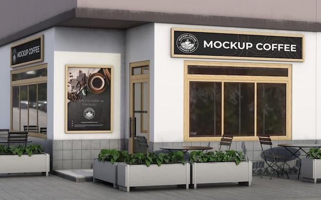 Corner mock-up composition for shop