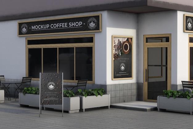 Mock-up d'angolo per negozio all'aperto