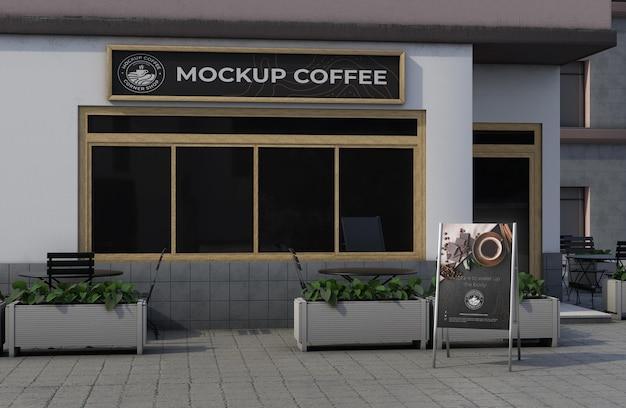 Corner mock-up for shop outdoors