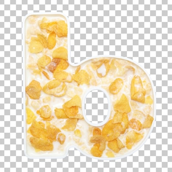 Cornflakes cereal with milk in letter b bowl