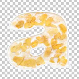 Cornflakes cereal with milk in letter a bowl