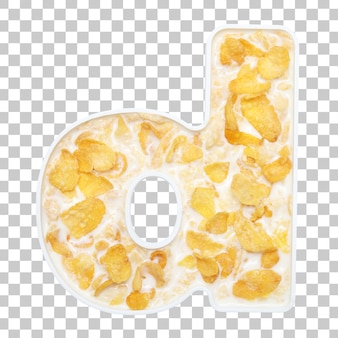 Cornflakes cereal with milk in letter d bowl