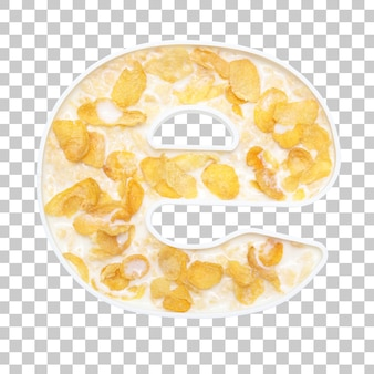 Cornflakes cereal with milk in letter e bowl
