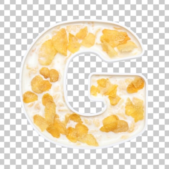 Cornflakes cereal with milk in letter g bowl