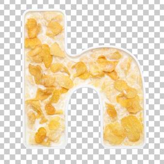 Cornflakes cereal with milk in letter h bowl