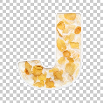 Cornflakes cereal with milk in letter j bowl