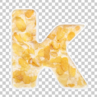 Cornflakes cereal with milk in letter k bowl