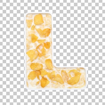 Cornflakes cereal with milk in letter l bowl