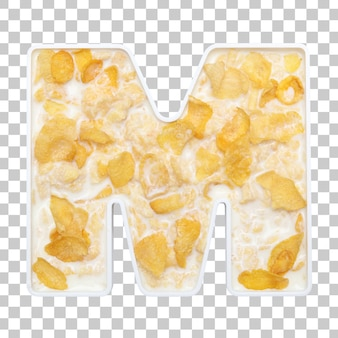 Cornflakes cereal with milk in letter m bowl