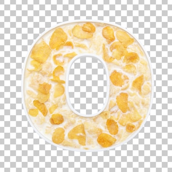 Cornflakes cereal with milk in letter o bowl