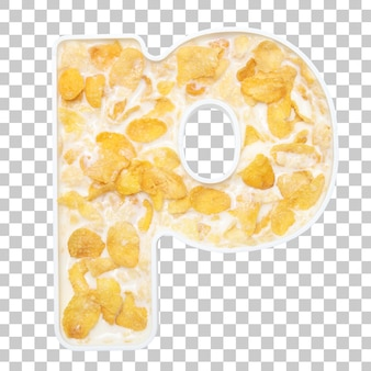 Cornflakes cereal with milk in letter p bowl