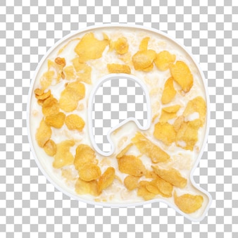 Cornflakes cereal with milk in letter q bowl
