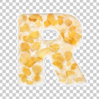 Cornflakes cereal with milk in letter r bowl