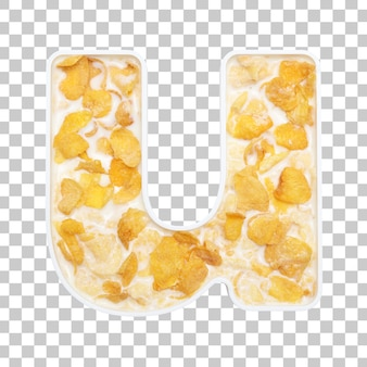Cornflakes cereal with milk in letter u bowl