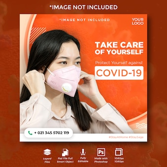 Corona virus social media instagram flyer for protection and mask wear.