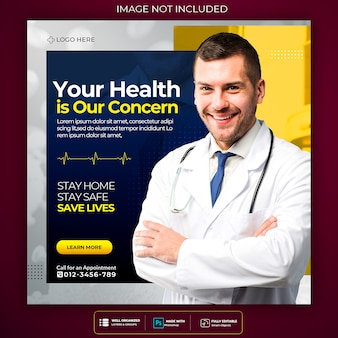 Corona virus warning social media square post flyer template