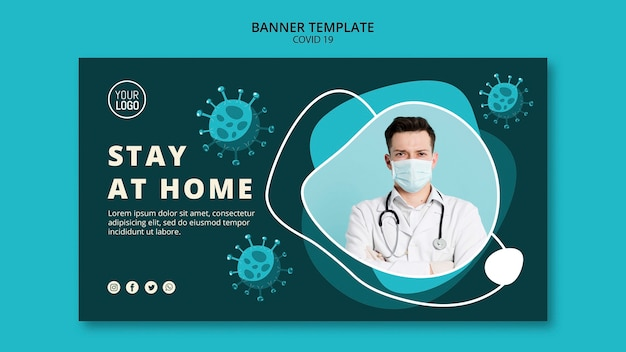 Coronavirus banner template with photo