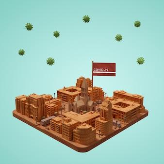 Città 3d di coronavirus che costruisce sulla tavola