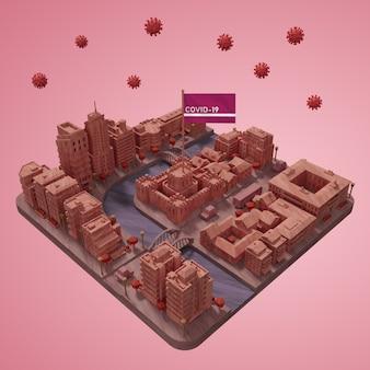 Edificio della città 3d di coronavirus