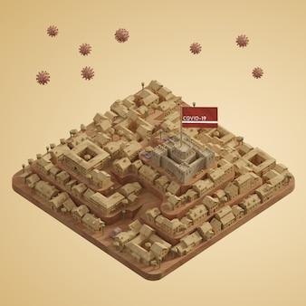 Coronavirus modello di edificio cittadino