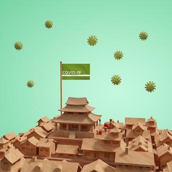Modello di città di coronavirus con mock-up