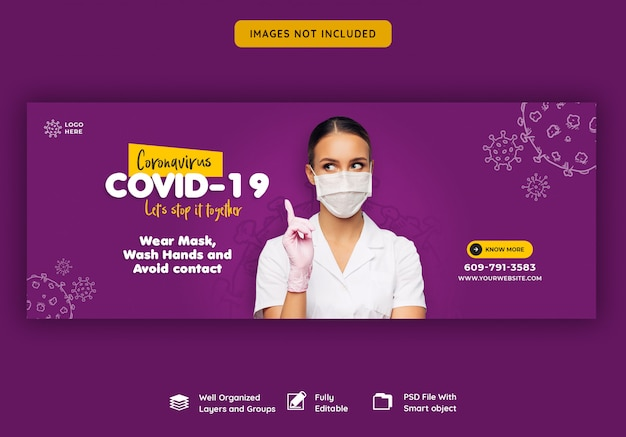 Coronavirus or convid-19 facebook cover template