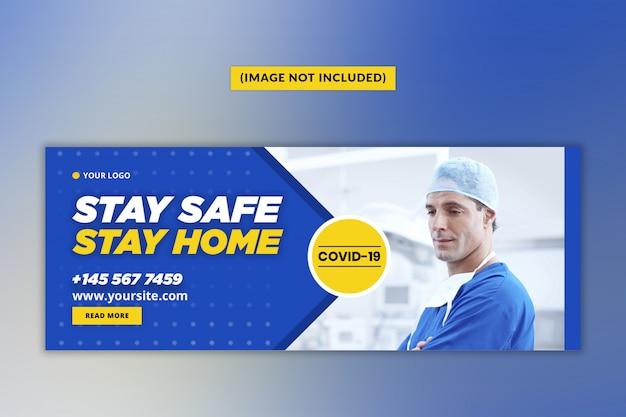 Coronavirus or convid-19 facebook cover template