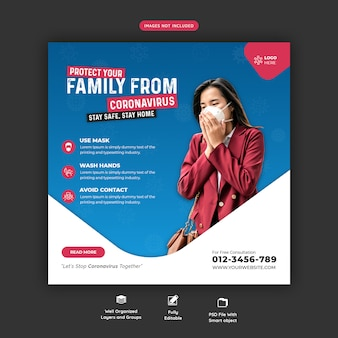 Coronavirus or convid-19 social media banner template premium psd