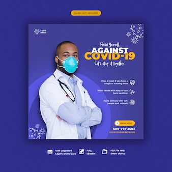 Coronavirus or convid-19 social media banner template