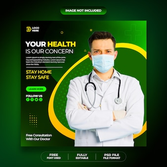 Coronavirus or covid-19 social media post flyer  template