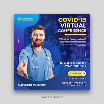 Coronavirus or covid-19 square social media post banner template