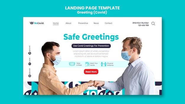 Coronavirus greetings landing page template with photo