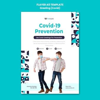 Modello di stampa dei saluti del coronavirus con foto