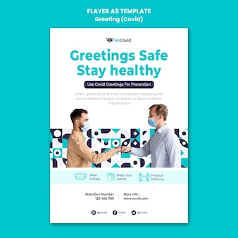 Coronavirus greetings print template with photo
