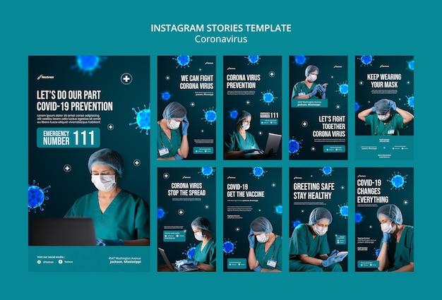 Шаблон оформления историй о коронавирусе instagram