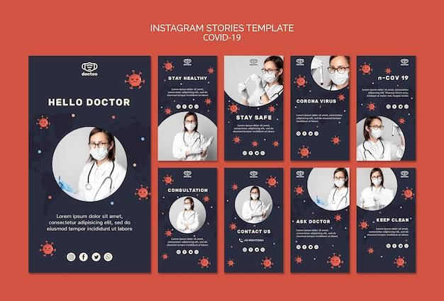 Coronavirus instagram stories template with photo