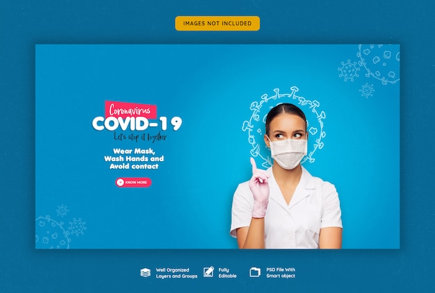 코로나 바이러스 또는 convid-19 웹 배너 템플릿