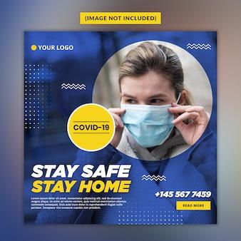 Шаблон сообщения в социальных сетях coronavirus или covid-19