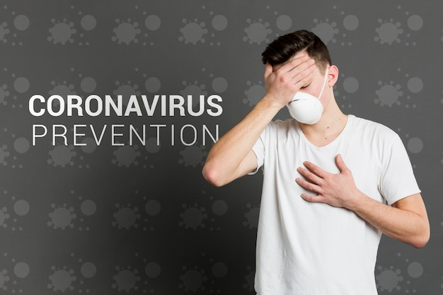 Coronavirus prevention and man with mask