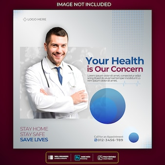 Coronavirus social media post square template design