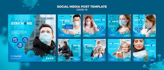 Шаблон сообщения в социальных сетях coronavirus
