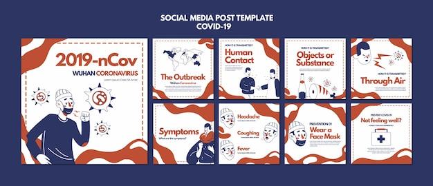 Modello di post sui social media di coronavirus