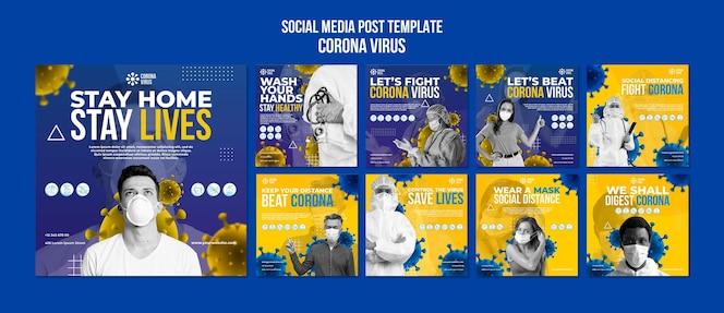 코로나 바이러스 소셜 미디어 게시물 템플릿