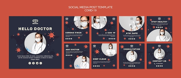 Coronavirus social media posts template with photo